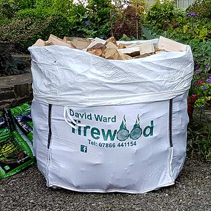 Our standard sized delivery of David Ward firewood in 100% recyclable polypropylene sack