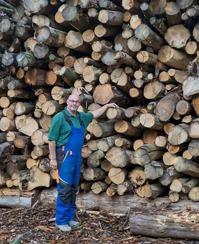 David Ward with fresh timber